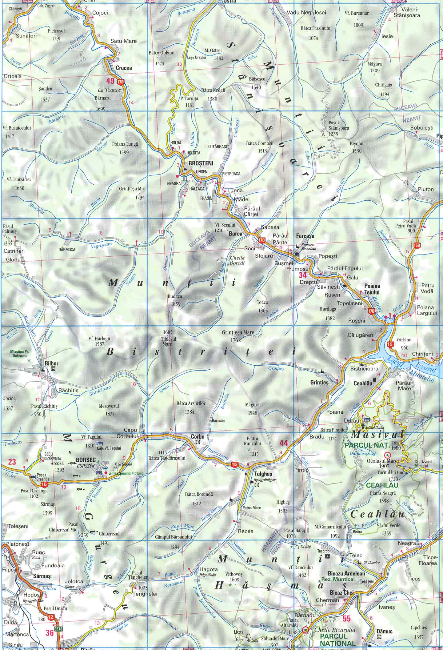 Harta Pasul Paltinis Din Muntii Calimani