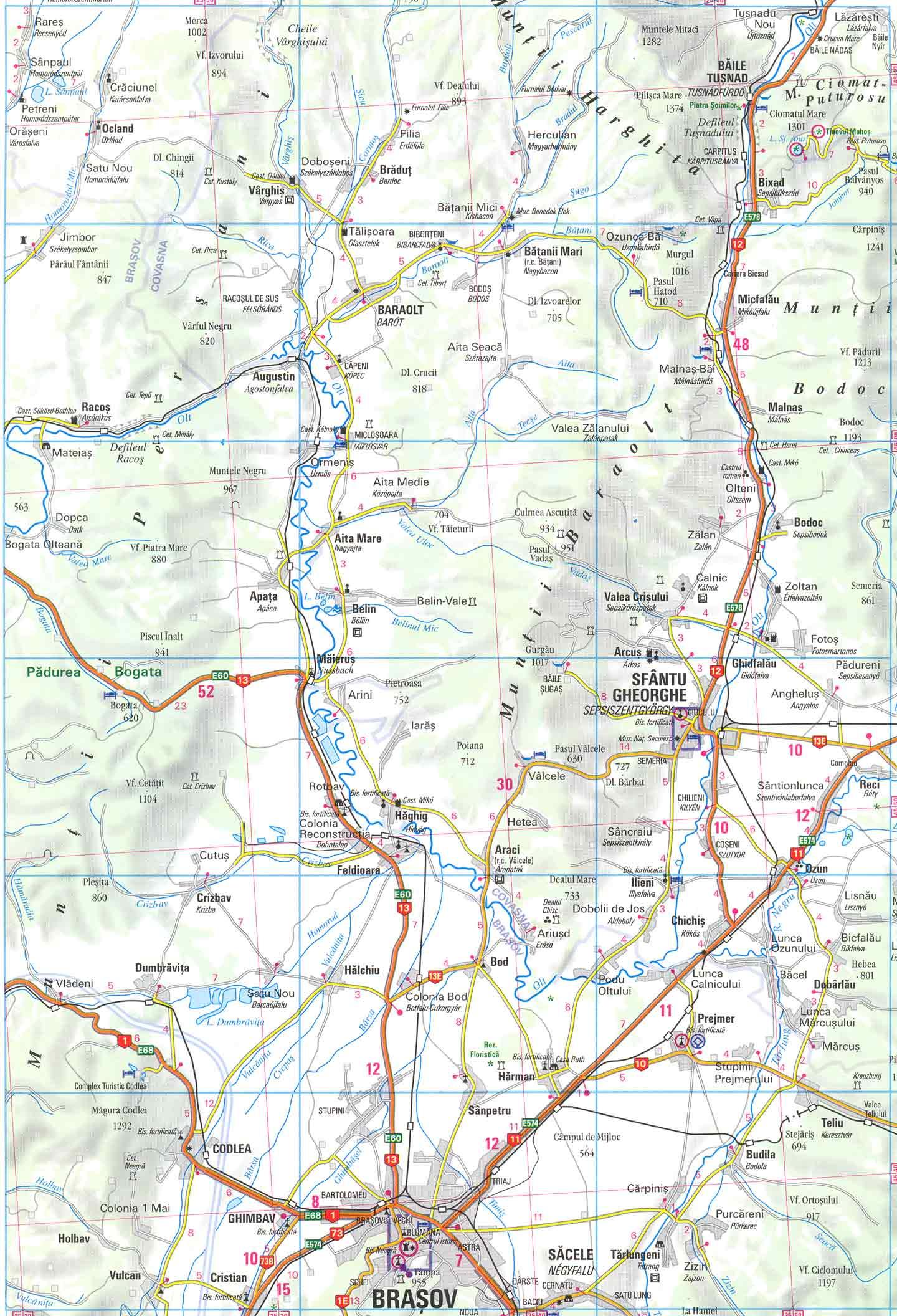 Harta Defileul Oltului La Tusnad Din Muntii Harghita